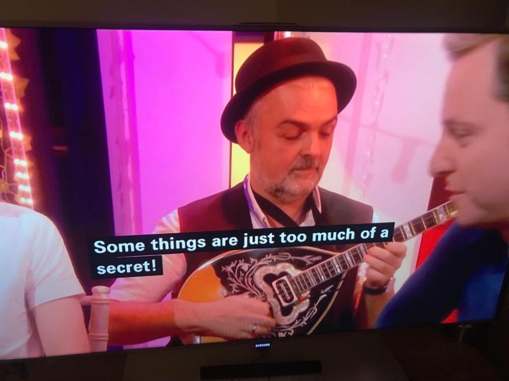 Playing background Greek music for BBC TV, the One Show, for guest